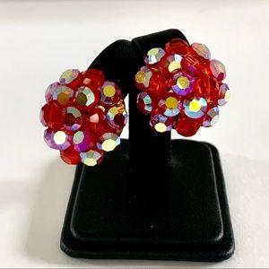 Fuschia Aurora Borealis Rhinestone Clip Earrings